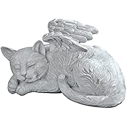 Design Toscano Cat Angel Pet Memorial Grave Marker Tribute Statue, 10 Inch, Polyresin, Stone Finish