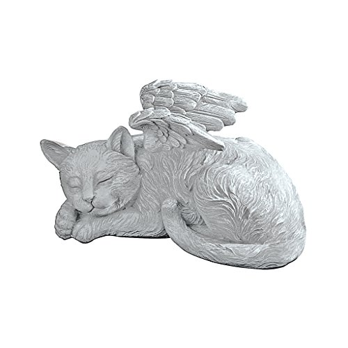 Design Toscano Cat Angel Pet Memorial Grave Marker Tribute Statue, 25.5 cm, Polyresin, Stone Finish