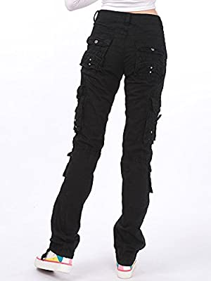 Gooket Women's Cotton Casual Straight Leg Cargo Pants With Multiple Pockets