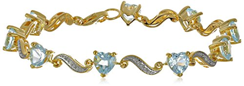 Yellow Gold Flash Plated Sterling Silver Wave Heart Sky Blue Topaz Diamond Accent Heart Wave Bracelet, 7.25