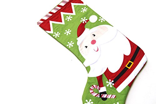 Christmas Santa Quilted Fabric Stocking Santa Quilted Stocking