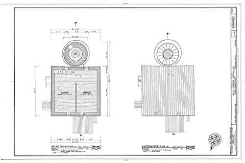 - Blueprint Diagram HABS MICH,42-COPHAR.V,2- (Sheet 3 of 7) - Rock Harbor Lighthouse, Copper Harbor, Keweenaw County, MI 12in x 08in