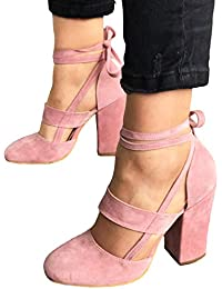 Women's Thick High Heel Shoes Sexy Straps Pumps