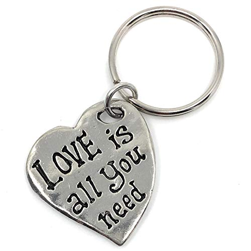 Lead Free Pewter Heart - Love is All You Need Lead Free Pewter Key Ring Charm Gift Box