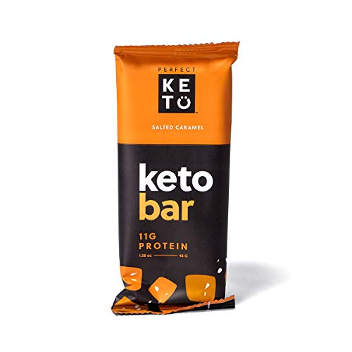 Perfect Keto Bar, Keto Snack (12 Count), No Added Sugar. 10g of Protein, Coconut Oil, and Collagen, with a Touch of Sea Salt and Stevia. (12 Bars, Salted Caramel) (Best Way To Crumble Bacon)