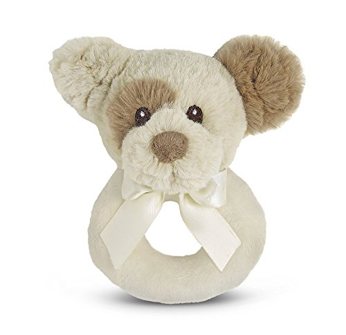 Bearington Baby Lil' Spot Plush Stuffed Animal Puppy Dog Soft Ring Rattle, 5.5