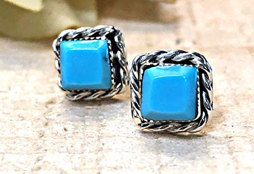 Genuine Sleeping Beauty Turquoise Square Stud Earrings, 925 Sterling Silver, Authentic Navajo Native American USA Handmade, Natural Stone, Small and Dainty for Women, Light Blue, Southwest Jewelry