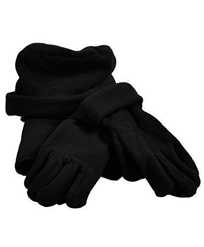 Three Piece Gloves - Women's Black Solid Polyester Fleece 3-Piece gloves scarf Hat Winter Set WSET50