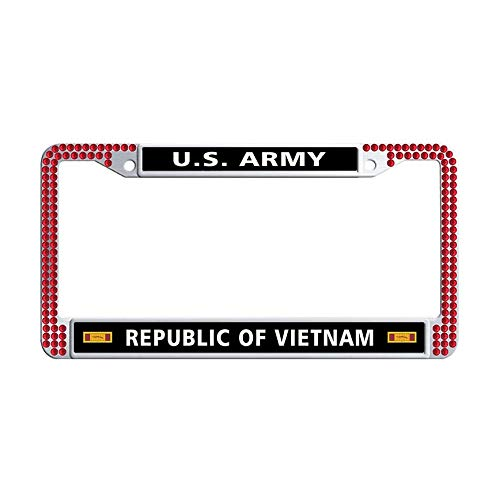 (Nuoousol U.S. Army Republic of Vietnam Gallantry Cross Unit Citation Ribbon Red Shining Crystal License Frame car, Stainless Steel Crystal Car License Plate Holder with 2 Holes Screws Caps Set)