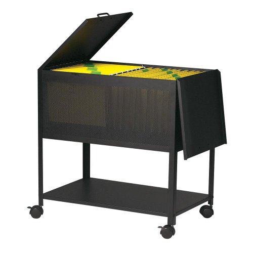 Dainolite HFC-600-BK Hanging File Cart on Casters Hinged Top, Black by Dainolite