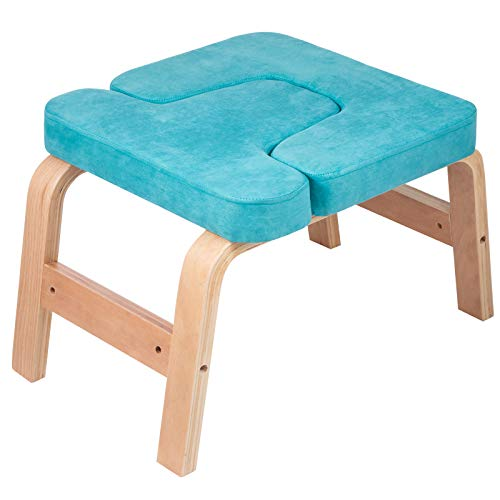 Happibuy Headstand Bench Wood Legs Yoga Inversion Chair with Suede Velvet Pads Headstand Trainer Stand Yoga Inversion Bench for Relieve Fatigue and Build Up Body