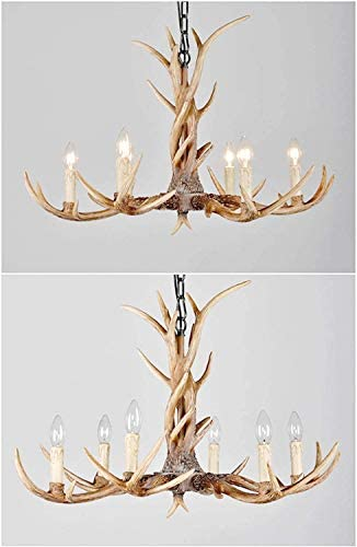 SAM Rustic Chandelier with 8-Lights,Retro Antlers Pendant Light and Adjustable,Farmhouse Wood Lighting Fixtures Hanging for Kitchen Island Dining Room Living Room Cafe Pub