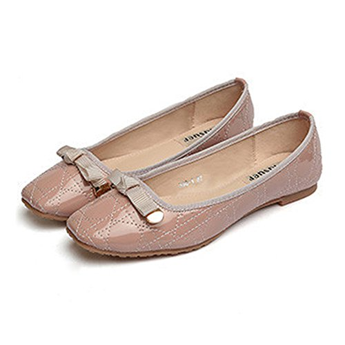Size Plus up Bowknot Metal Casual Flat Lace pink 41 Thin Shoes xBaOWX