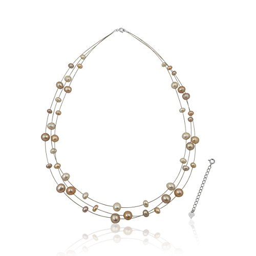 PearlsNSilver Bridal Sterling Silver Cultured Pearl Illusion Necklace Pastel 18
