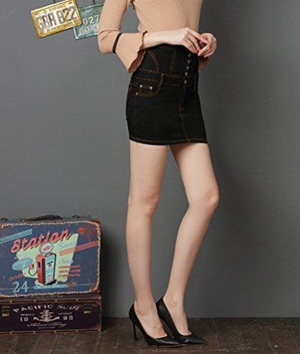 Short Jupe Mini Denim Femme Mode Haute Jupe Crayon Sentao en Vintage Noir Stretch Jean Taille Bodycon Jupe 7FqwccARg