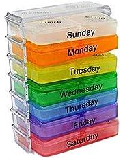 LeftSuper 7 Dagen Pillendoosje Kleine Pillendoosje Draagbare Een Week Verzegelde Medicijndoos 7-Layer Opvouwbare Kleine Pillendoosje Medicijn Opslag Tablet Container