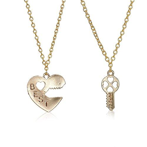 2pcs Broken Heart Lock and Key BEST FRIENDS Pendants Necklace
