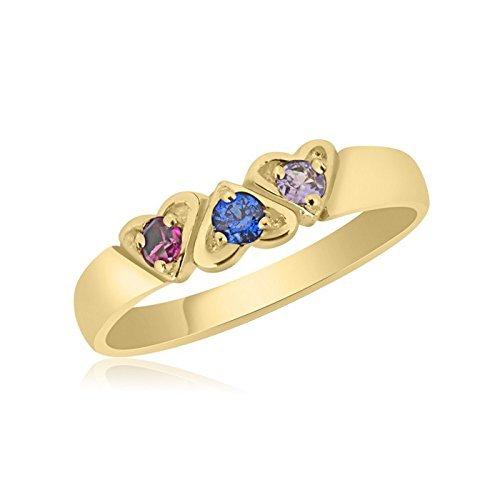 10K Yellow Gold Interlocking Hearts – 3 Birthstone Family Ring