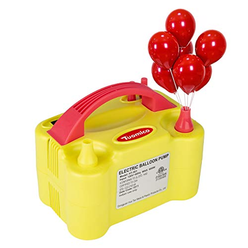 Tuomico Electric Air Balloon Pump,Portable Dual Nozzle 110V 600W Electric Balloon Inflator/Blower Pump for Decoration Party Sport