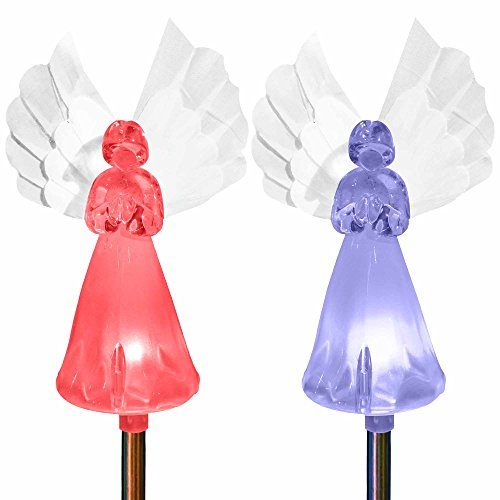 Baptism Angel Solar Powered Garden Color Changing Stake Lights Statue Wings Christmas Thanksgiving Party Decor Outdoor Lawn Yard Patio Cemetery Gardening Birthday Nursery Lighting Figurine (Set of 2)