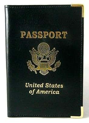 Amazon.com: Genuine Black Leather Passport Cover Case ...