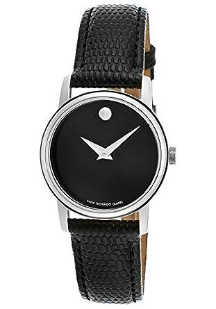 96f042e5f Amazon.com: Movado Women's Black Dial Black Genuine Leather: Watches