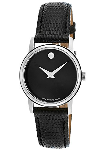 Movado Women's Black Dial Black Genuine Leather