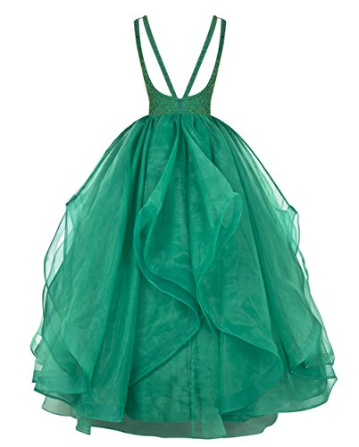 Dresstells®Vestido Princesa De Gala Fiesta Largo Sin Mangas De Organdí Con Cuentas Azul Oscuro
