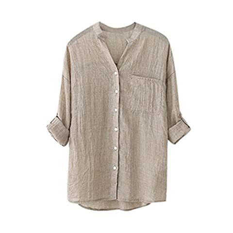 TAORE 2017 Women Cotton Solid Long Sleeve Button Down Shirt Casual Loose Blouse Tops (L, Khaki) - Dyed Cotton Short