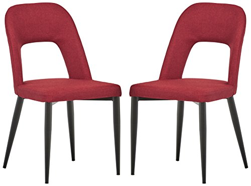 Rivet Florence Mid-Century Wide Open-Back Accent Dining Room Chairs, 18.8 W, Red, Set of 2