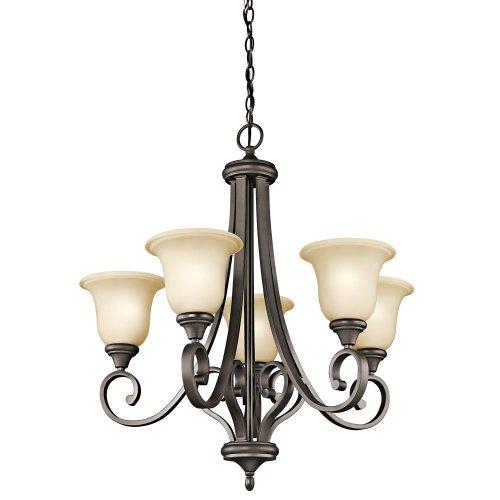 Kichler Lighting 43156OZ Monroe 5-Light Chandelier with Light Umber Etched Glass, Olde Bronze Finish
