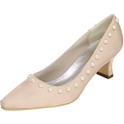Loslandifen Femmes Bout Pointu Mi-talon Mariage Chaussures De Mariée Champagne-b