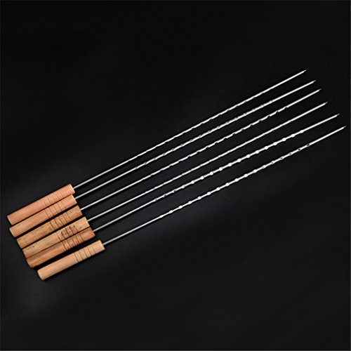 VolksRose 6 Pcs Stainless Steel Barbecue Skewers Set - Wide BBQ Kabob Grilling Sticks with Wooden Handle to Protect Your Hands