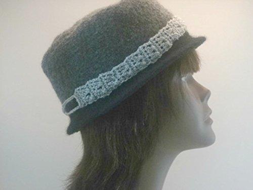 Crochet Felted Wool Porkpie Inspired Hat With Crocheted Silver Band (Crochet Felted Hat)