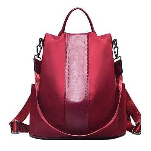- Women Anti-Theft Shoulder Bag,Mosunx Clothing Girls Waterproof Nylon Lightweight Rucksack Ladies Solid Color Diagonal Backpack (13.0'x5.9'x13.4, Red)