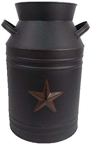 (Craft Outlet Black Tin Milk Can Container with Star, 13-Inch)