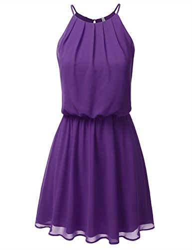 DRESSIS Womens Double Layered Chiffon Mini Tank Dress Purple M ()