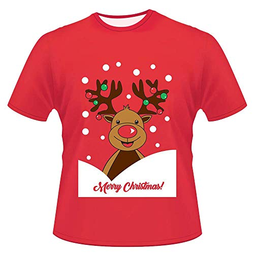 FEDULK Mens Womens Christmas Ugly Sweater Deer Print Short Sleeve T-shirt Xmas Blouse Pullover(Red , US Size S = Tag M)