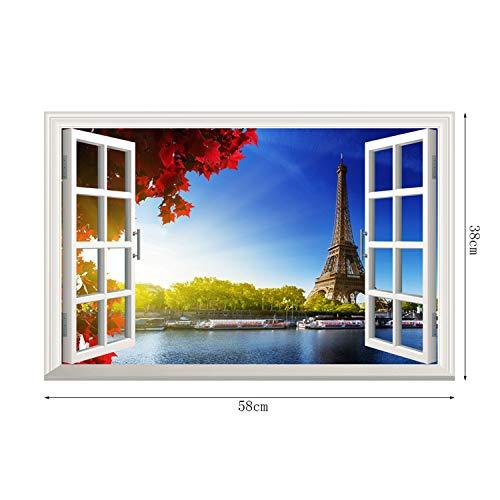 AdornHome-Sticker Seine RiverWallStickerParis Tower False Window Wall Sticker, -