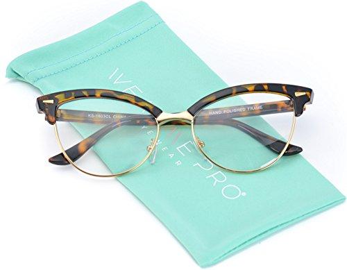 WearMe Pro - New Semi-Rimless Retro Cat Eye Fake - Sunglasses Prescription Cat Eye