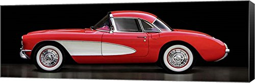(Corvette Chevrolet by Gasoline Images Canvas Art Wall Picture, Museum Wrapped with Black Sides, 33 x 11 inches )