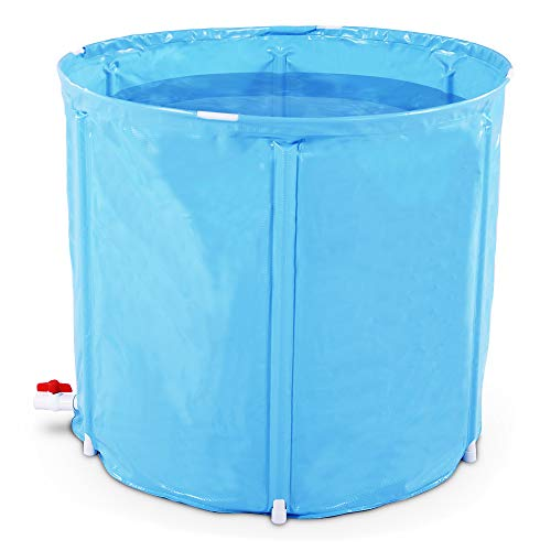Portable Plastic Bathtub, Folding Spa BathTub for Adults, 31 inches Freestanding Soaking Tub Non-Inflatable Ice Bath Tub, Thickened Thermal Foam to Keep Temperature]()