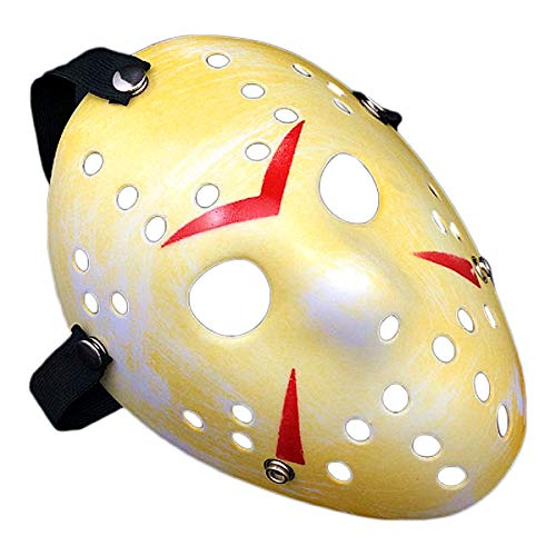 IMIKE Halloween Cosplay Costume Masks Friday The 13th Jason Face Masks Retro Thicken Horro Masquerade Paty Masks Great Decorations (Yellow) -