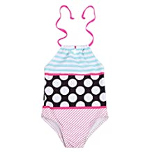 Kids Baby Girls Swimwear Halter Polka Dot Striped Swimsuit One Piece