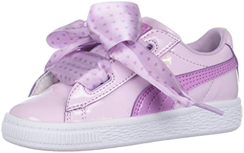 PUMA Girls' Basket Heart Sneaker, Winsome Orchid-Metallic Gold, 7 M US Toddler