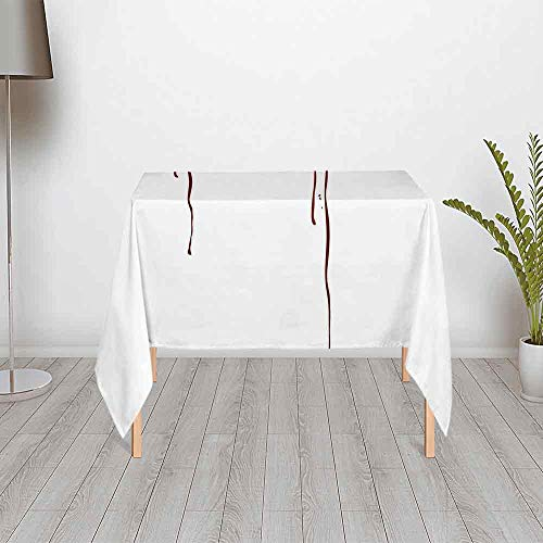 Vampire Stylish Satin Tablecloth,Red Eyes of a Woman Dropping Blood Tears Female Foe Threatening Look Danger Decorative for Outdoor Picnic and Table Decorate,55.12''W x 55.12''H