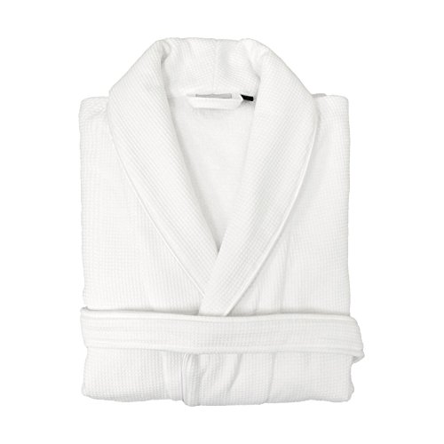 Linum Home Textiles 100% Turkish Cotton Waffle Terry Bathrobe with Satin Piped Trim, White, Small/Medium ()