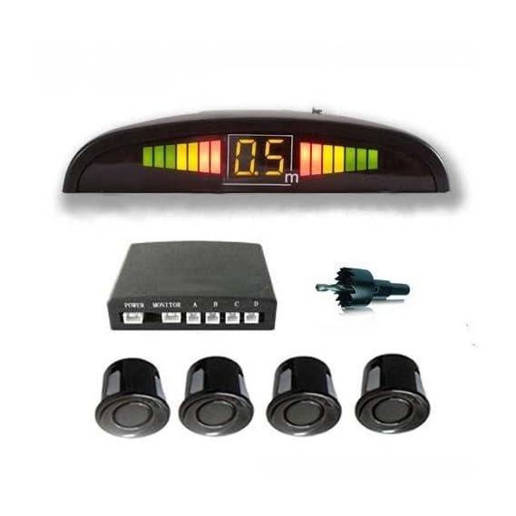 AllExtreme EXRPSFC Car Reverse 4 Parking Sensor System Premium Quality Reverse Backup Radar System with LED Display