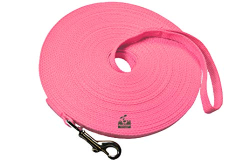 Dog/Puppy Obedience Recall Training Agility Lead Leash - Perfect for Pet Behavior Training, Multiple Sizes - 15 ft, 20 ft, 30 ft, 50 ft, 75 ft, 100 ft (20 Foot, Pink)