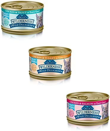 Blue Buffalo Wilderness Grain-Free Wild Delights Variety Pack Cat Food – 3 Flavors Chicken Trout, Chicken Salmon, and Chicken Turkey – 12 3 Ounce Cans – 4 of Each Flavor